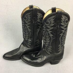 Dan Post Black Leather Lizard Skin Cowboy Boots 9D